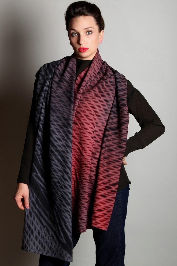 Indigo Crimson Winter Weight Cashmere Shawl