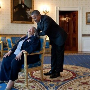 Toni Morrison with President Obama after accepting the Presidential Medal of Freedom