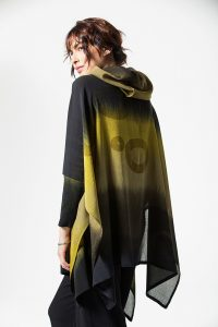 Open Poncho Ghost Huari, Chartreuse, side