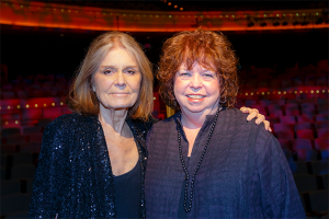 Sharon Rab at the Dayton Literary Peace Prize awards ceremony with Gloria Steinem.