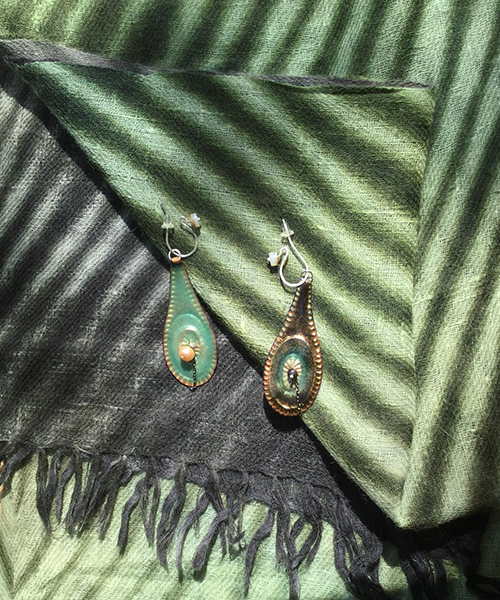 Celedon/bronze earrings with Shibori Summer Cashmere Shawl