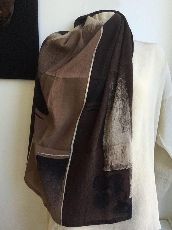 Batik Landscape Silk ScarfLandscape Silk Scarf, large squarein Ivory and Espresso