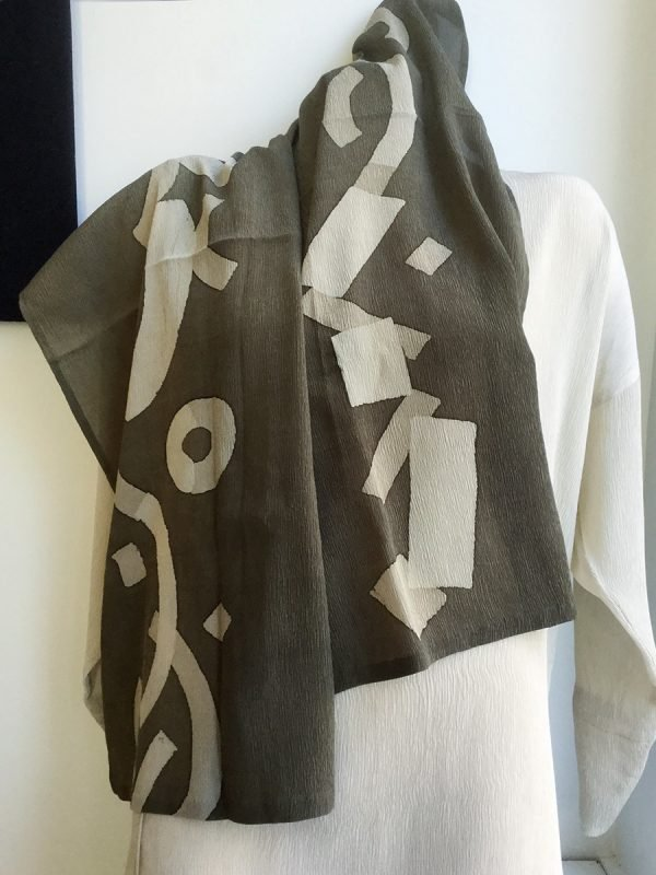 Macaroni Square Silk Scarf  in Ivory and Khaki, showing both edges