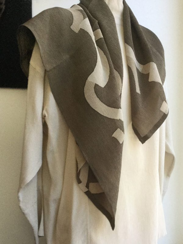 Macaroni Square Silk Scarf  in Ivory and Khaki, wrapped