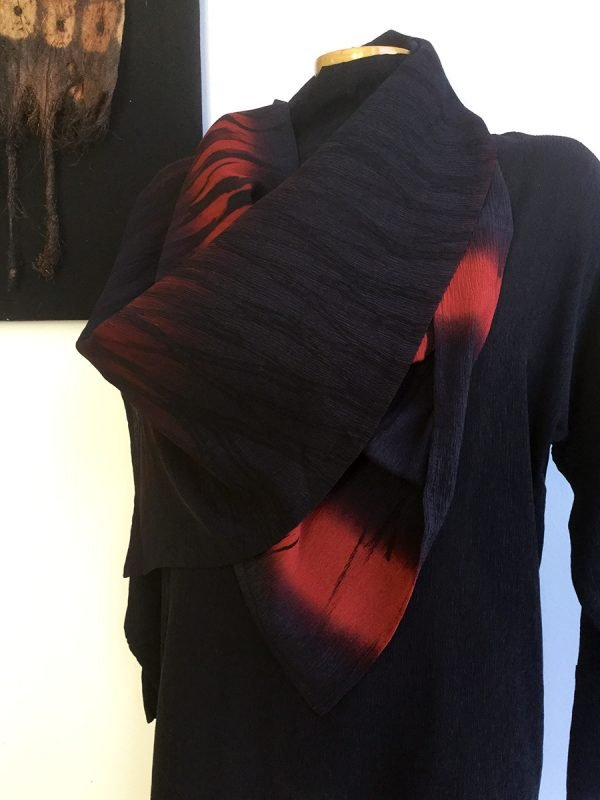 Original Shibori Silk Scarf in Red and Black