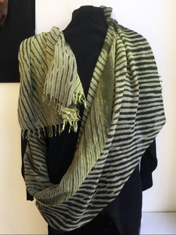 Spring Green/Caper Shibori Cashmere Shawl, Summer-weight