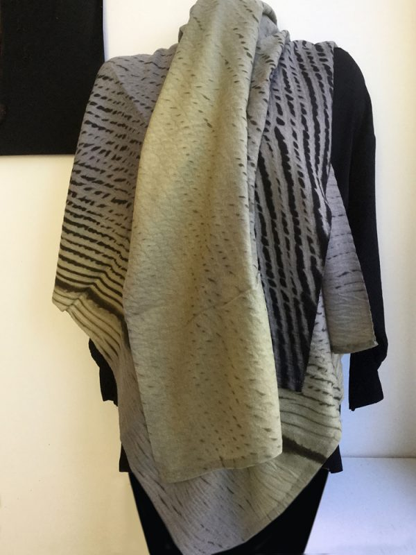 Spring Green/River Rock/Slate Shibori Cashmere Shawl, Winter-weight