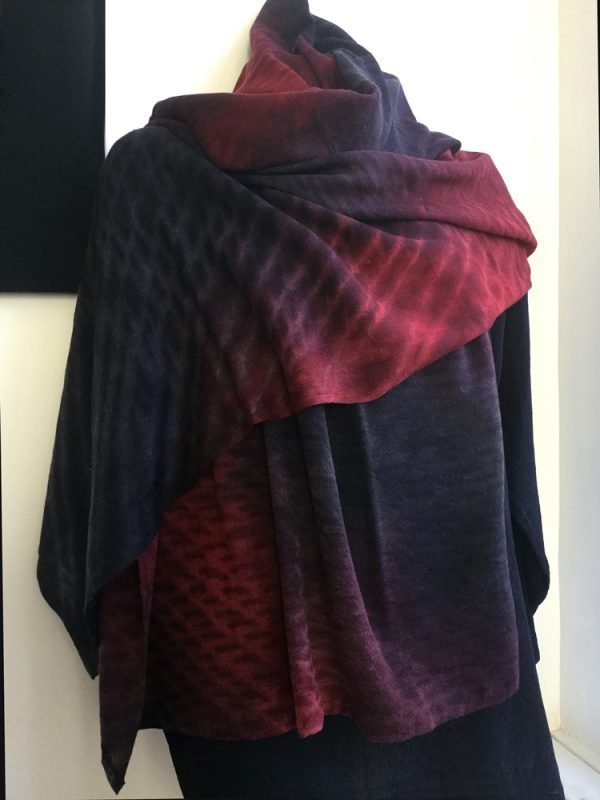 Red/Black Shibori Cashmere Shawl, Winter-weight