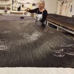 The entire surface is again painted, this time in Black. Huari Batik Process for Bubble Silk