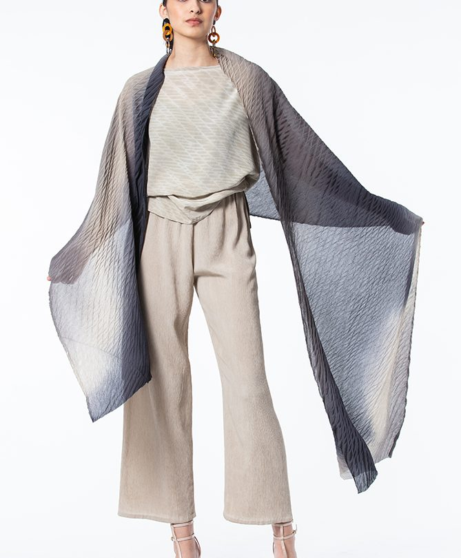 Ivory UltraKrinkle Extended Sleeve Top, shown with Slate, Ivory & Black Shibori Silk Crepe Shawl and matched Palazzo Pants