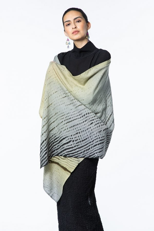Laura Gray & Chartreuese Winter weight Cashmere Shawl shown with Basic Top with Neck & Narrow Bubble Silk Skirt