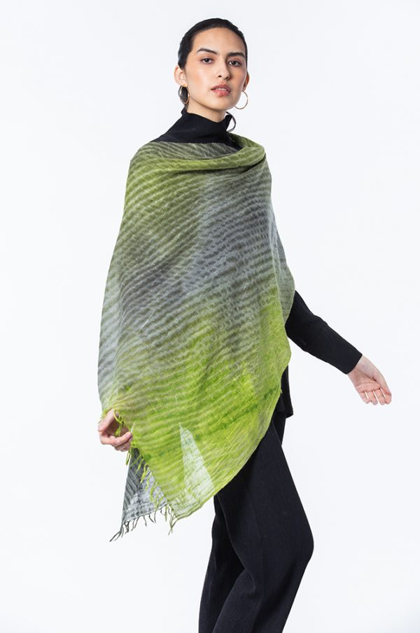 Apple Green & Dark Dove Summer weight Cashmere Shawl shown with Basic Top with Neck & Cropped Narrow Pant