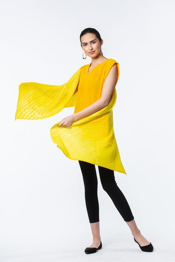 Sunny Yellow cashmere shawl with Marigold Nigerian Top