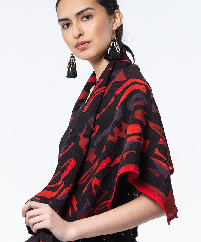 Red & Black Dance Party Krinklesilk Scarf