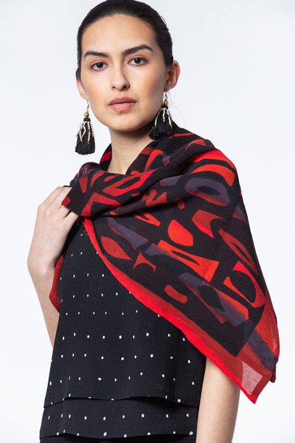 Red & Black Dance Party Krinklesilk Scarf shown with tiny cut Double Tank in Dot Batik