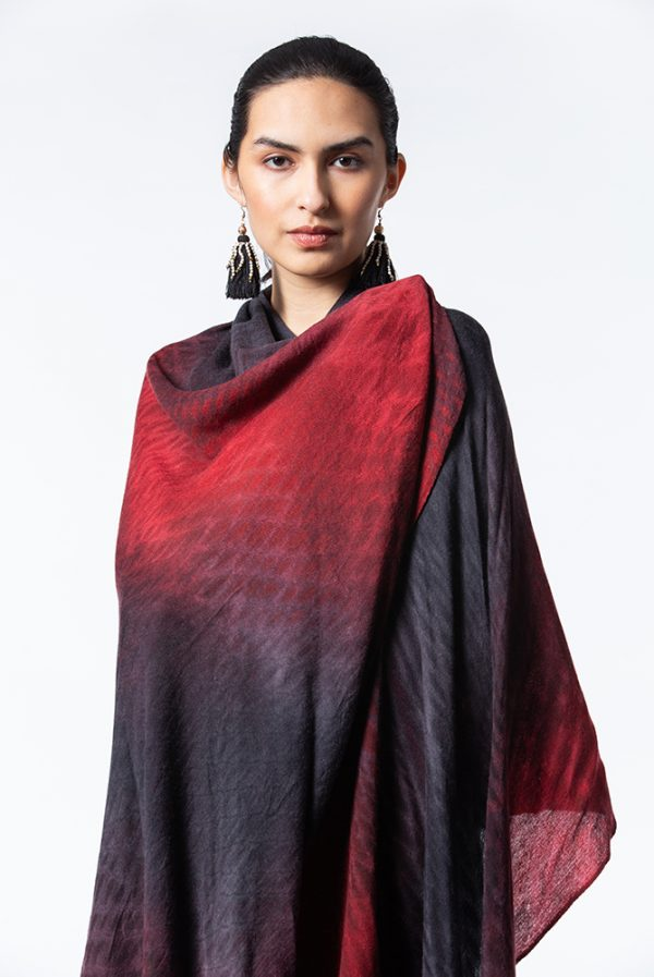 Red/Black Shibori Summer Weight Cashmere Shawl