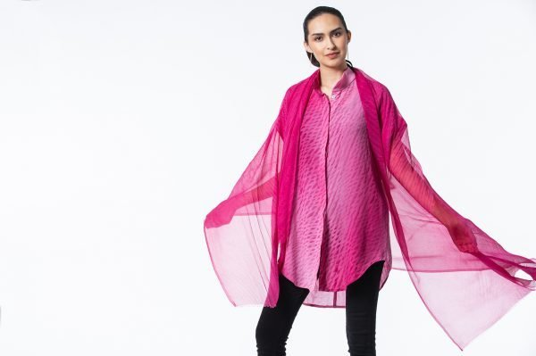 Madder Rose Shibori Silk Chiffon Shawl with Madder Rose Ultrakrinkle Shibori Summertime Tunic