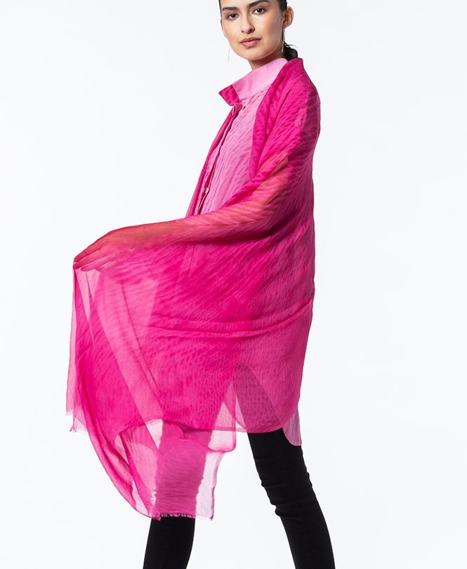 Madder Rose Shibori Silk Chiffon Shawl matched to Ultrakrinkle Shibori Summertime Tunic