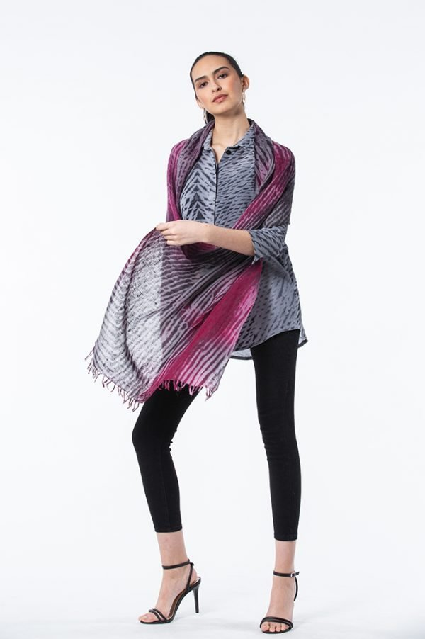 Madder Rose & Black Summer weight Cashmere Shawl with Dove Chinchilla Shibori Claire Top