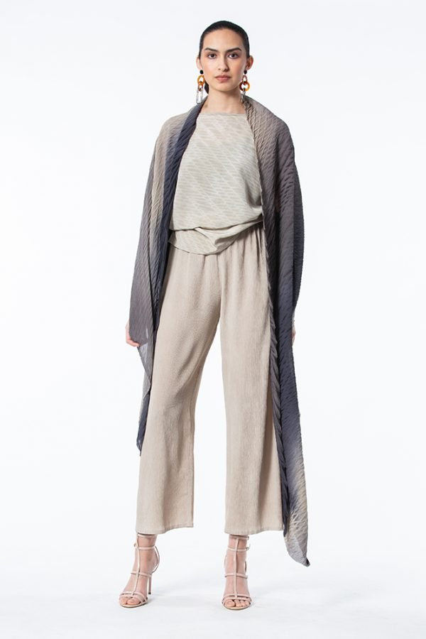 Slate, Ivory & Black Shibori Krinkle Silk Shawl with Ivory Shibori Extended Sleeve Top and Ivory Palazzo Pants