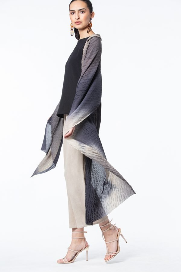 Slate, Ivory & Black Shibori Krinkle Silk Shawl with Black Scoop Neck Top and Ivory Palazzo Pants